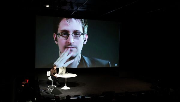 Edward Snowden talks with Jane Mayer via satellite at the 15th Annual New Yorker Festival on Saturday, Oct. 11, 2014 in New York - Sputnik International