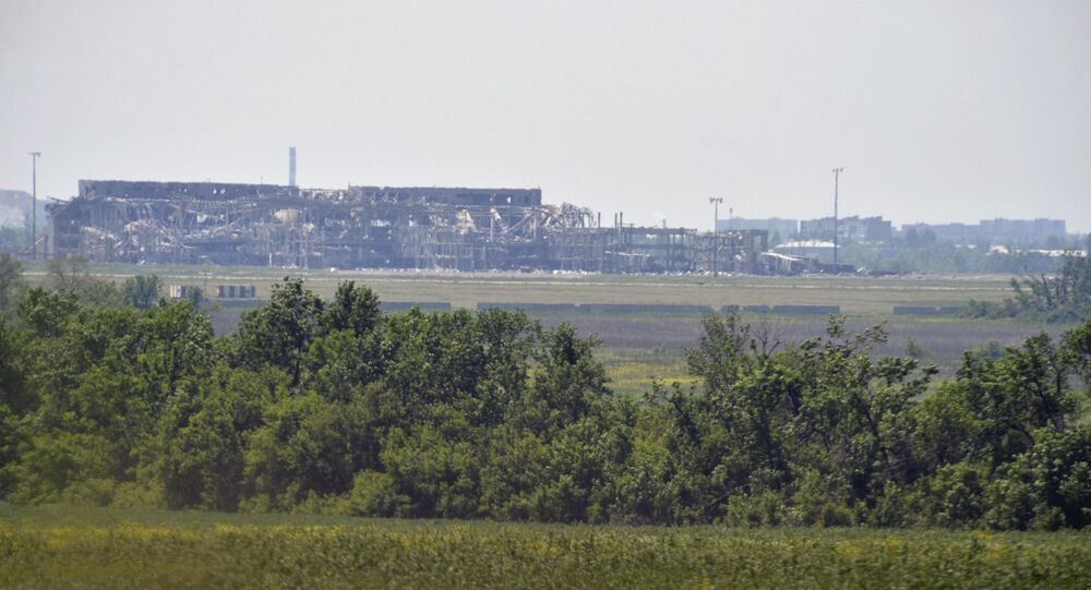 A view from the positions of the Ukrainian armed forces shows the local airport outside Donetsk, Ukraine, June 5, 2015