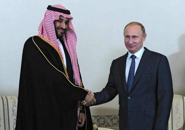 President Vladimir Putin (right) and Mohammad bin Salman Al Saud, the deputy crown prince and defense minister of Saudi Arabia, meeting in St.Petersburg, June 18, 2015