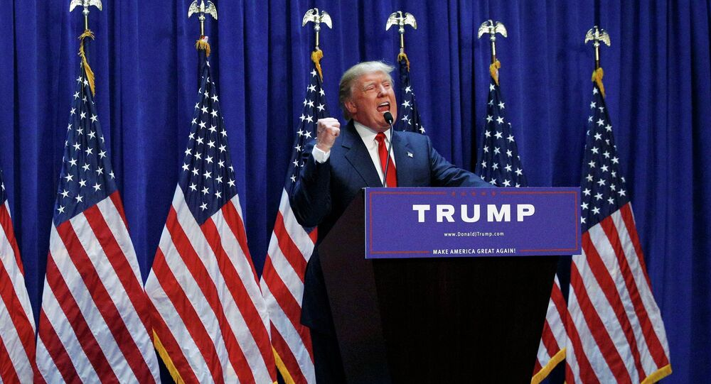 US Republican presidential candidate, real estate mogul and TV personality Donald Trump formally announces his campaign for the 2016 Republican presidential nomination during an event at Trump Tower in New York June 16, 2015