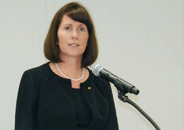 Toyota Motor Corp's Managing Officer and Chief Communications Officer Julie Hamp speaks to media during a news conference in Nagoya, central Japan