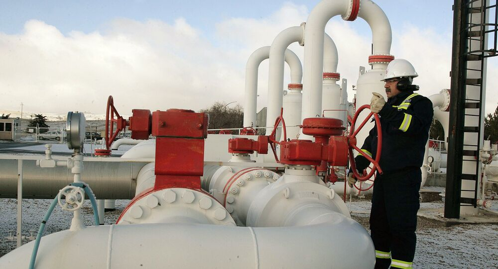 A worker carries out a routine check at a natural gas control centre of Turkey's Petroleum and Pipeline Corporation