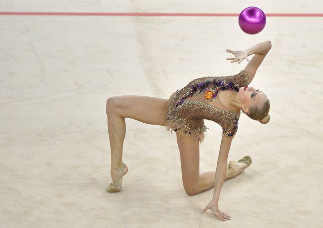 Yana Kudryavtseva competes during the rhythmic gymnastics all-around final at the 1st European Games in Baku, Azerbaijan.