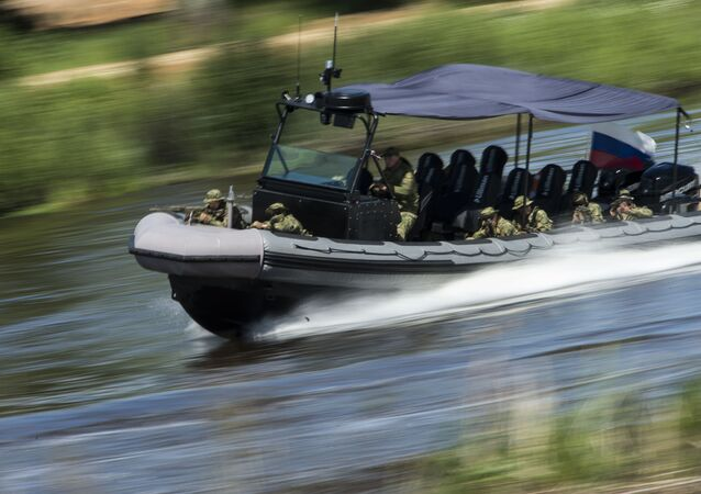 A motor boat displayed at the ARMY-2015 international military technical forum held outside Moscow.