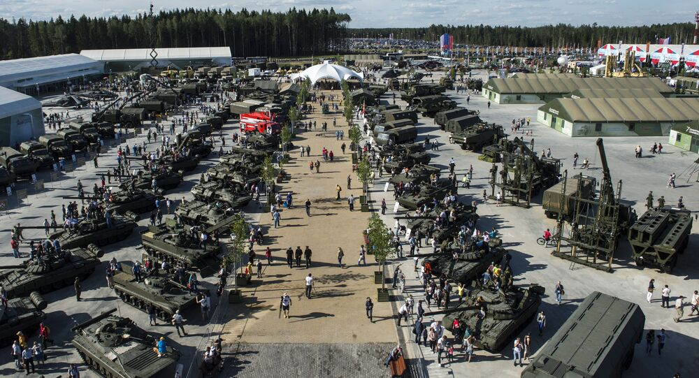 Military equipment on display at the ARMY-2015 international military technical forum held outside Moscow.