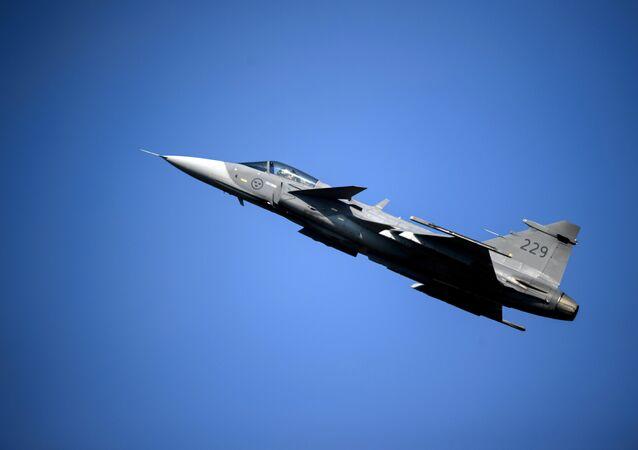 A Saab JAS 39 Gripen fighter jet