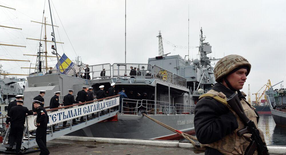 An Ukrainian sailor stands guard in front of frigate Hetman Sahaydachniy (U130), flagship of Ukrainian Navy in southern Ukrainian city Odessa (File)