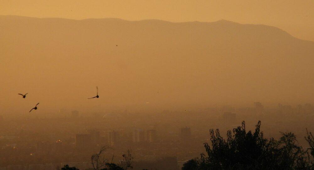 A smoggy Santiago sunset.
