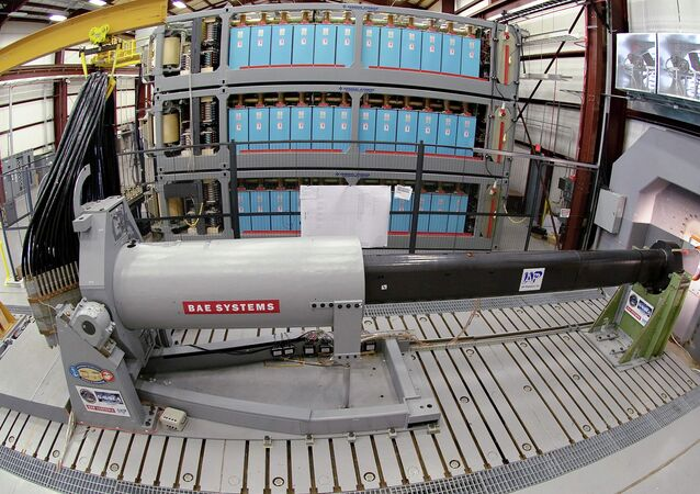 Naval Research-funded electromagnetic railgun