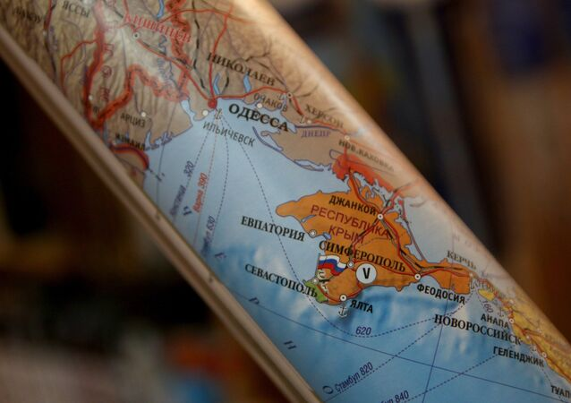 Political maps showing Crimea as part of Russian Federation now on sale in Simferopol