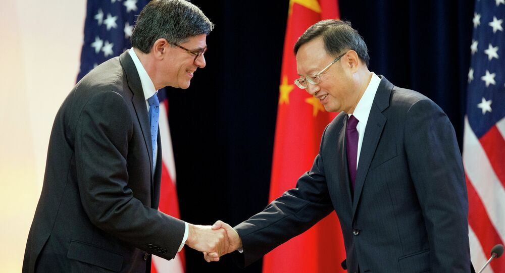 US Treasury Secretary Jack Lew shakes hands with China's State Councilor Yang Jiechi at the 7th US China Strategic and Economic Dialogue in Washington.
