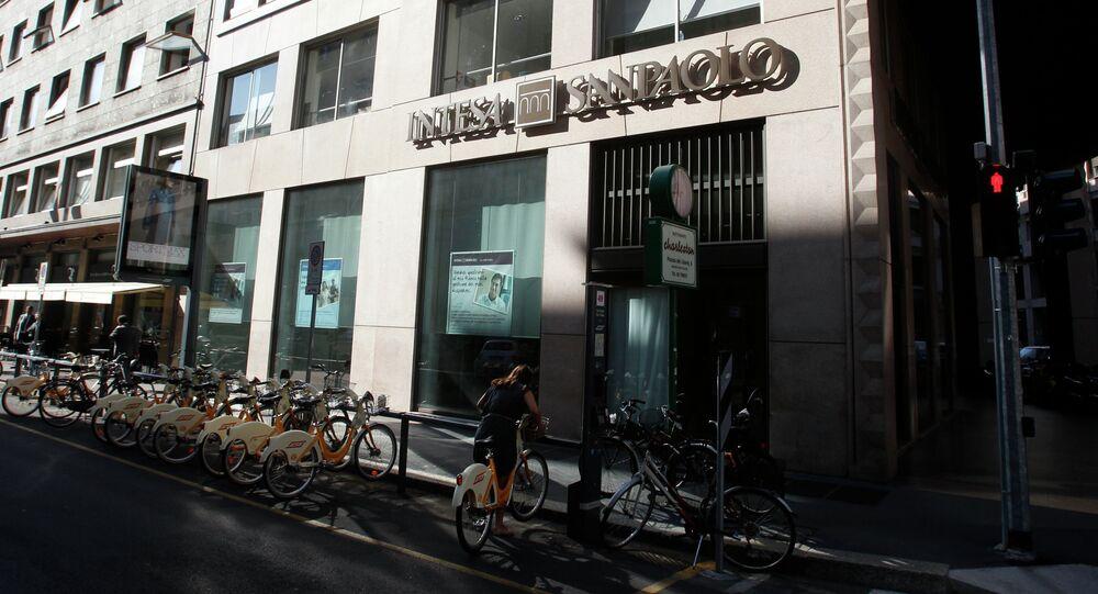 A view of an Intesa Sanpaolo bank branch in Milan, Italy