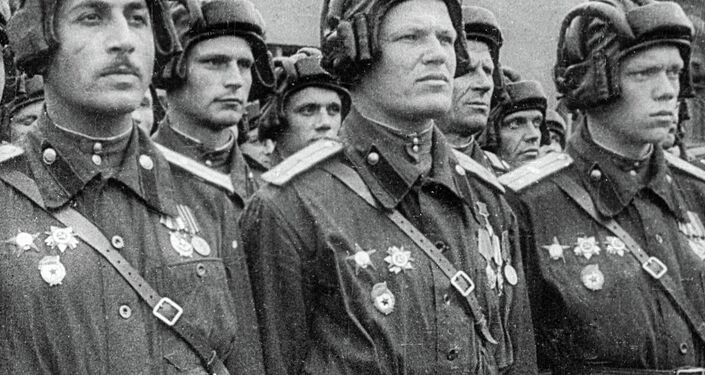 Soviet tank crew during Victory Day Parade on Red Square.