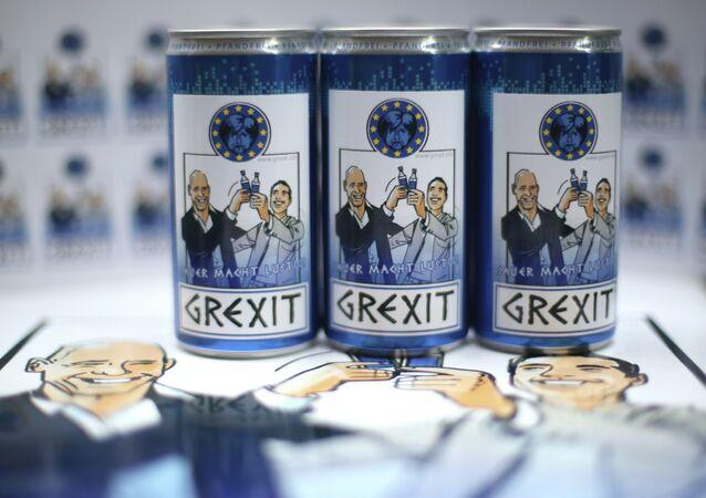 Bottles and cans of vodka lemon Grexit