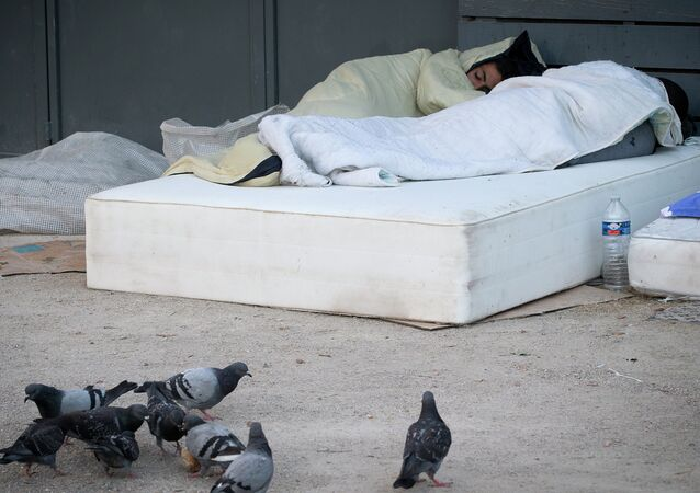 Migrants are pictured sleeping at dawn in an open air camp after spending the night oustide, on June 19, 2015 in Paris