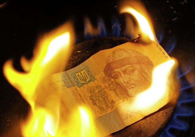 A burning one hryvnia bill
