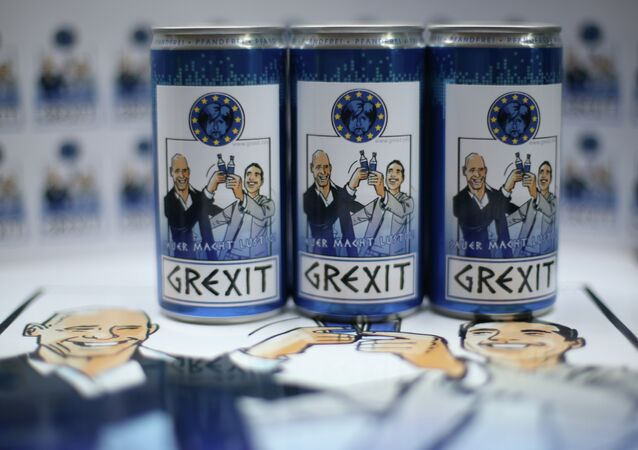Bottles and cans of vodka lemon Grexit are displayed on June 23, 2015 in Hamm, western Germany.