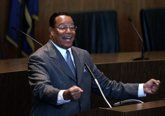 Nation of Islam leader Louis Farrakhan denounced the American flag as a symbol of racial violence Wednesday as he jumped into the debate over the use of the Confederate flag.