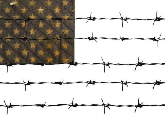 US flag barbed wire
