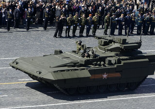 An infantry fighting vehicle with the Armata Universal Combat Platform at the final rehearsal of the military parade to mark the 70th anniversary of Victory in the 1941-1945 Great Patriotic War.