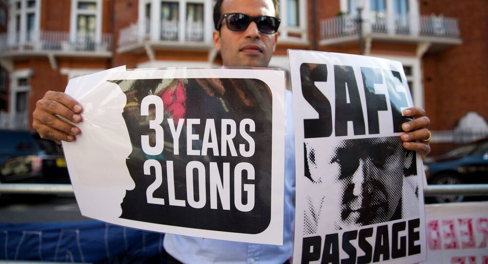 A supporter of Wikileaks founder Julian Assange holds banners outside the Ecuadorian embassy in London as he marks three years since Assange claimed asylum in the embassy on June 19, 2015