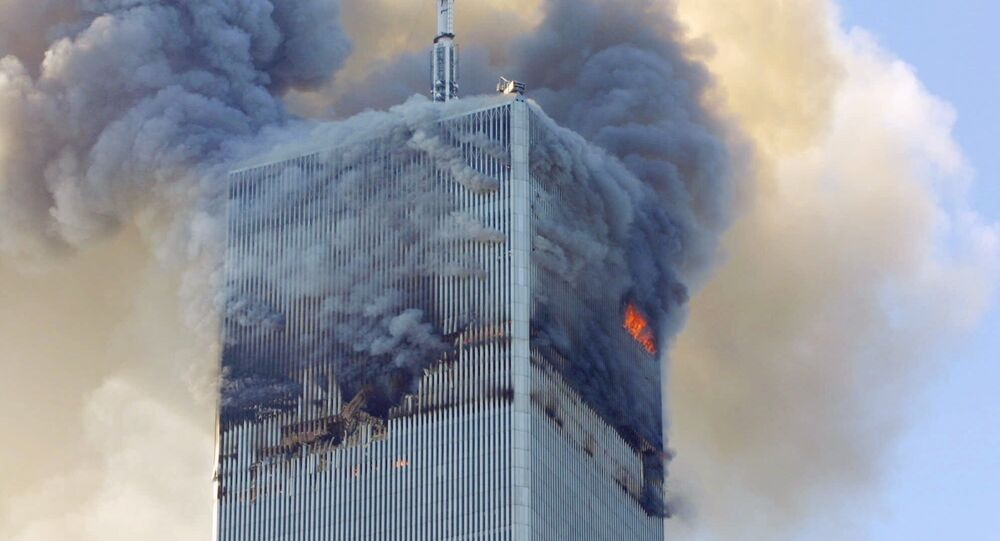 Fire and smoke billows from the north tower of New York's World Trade Center Tuesday Sept. 11, 2001 after terrorists crashed two hijacked airliners into the World Trade Center and brought down the twin 110-story towers.