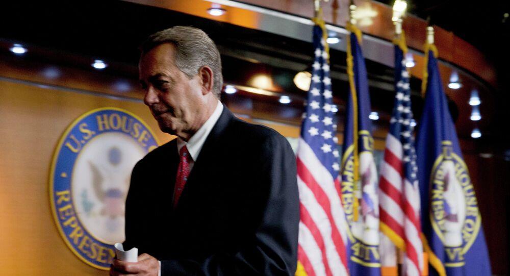 House Speaker John Boehner of Ohio leaves a news conference on Capitol Hill in Washington, Thursday, June 25, 2015