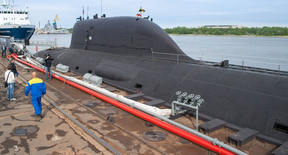Multirole Yasen K-560 Severodvinsk submarine by the pier of the Sevmash shipyard in Severodvinsk