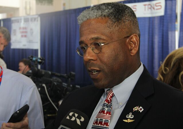 Allen West talking to reporters at the 2012 Republican National Convention