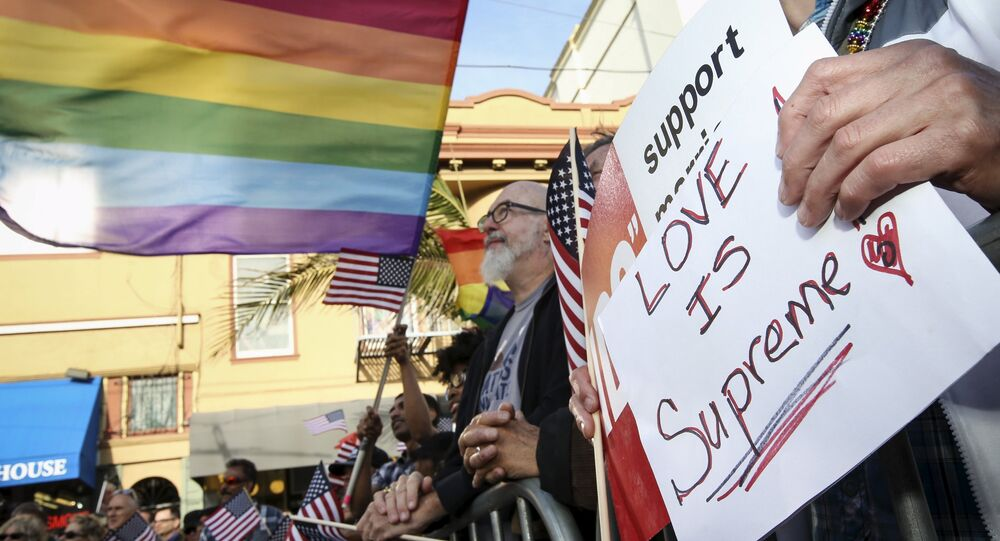 People celebrate with flags and a sign referencing the United States Supreme Court's landmark decision that legalized same-sex marriage throughout the country in San Francisco, California June 26, 2015