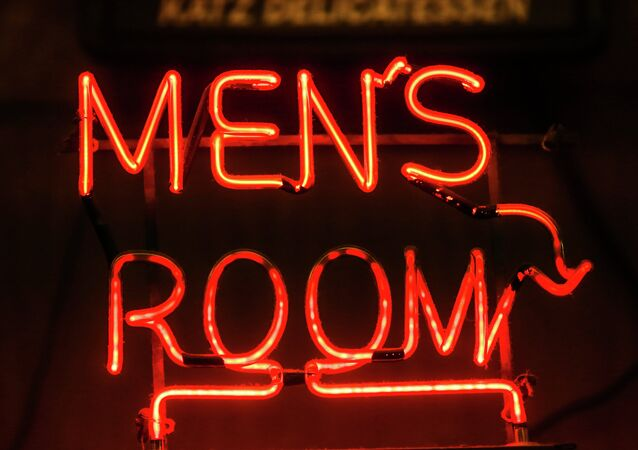 The sign to the men's room at New York's word famous Kat'z Deli