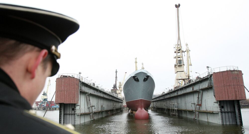 Admiral Sergey Gorshkov Frigate, a lead ship of the Russian Navy, launched at the Servernaya Verf in St.Petersburg