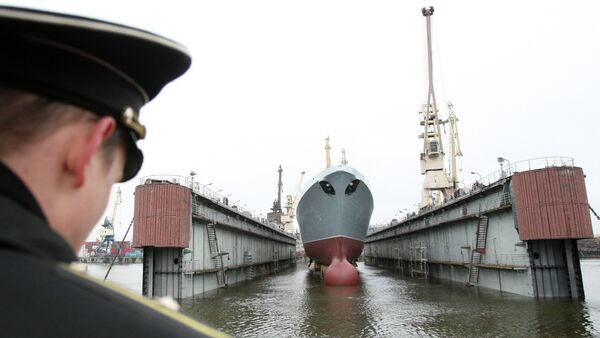 Admiral Sergey Gorshkov Frigate, a lead ship of the Russian Navy, launched at the Servernaya Verf in St.Petersburg - Sputnik International