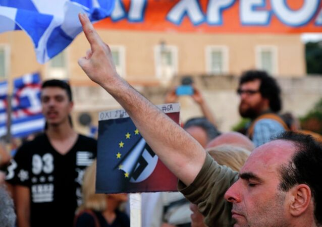 Thousand of demonstrators gather outside Greece's parliament to express their support for Prime Minister Alexis Tsipras' anti-austerity stance during negotiations over the country's debt.