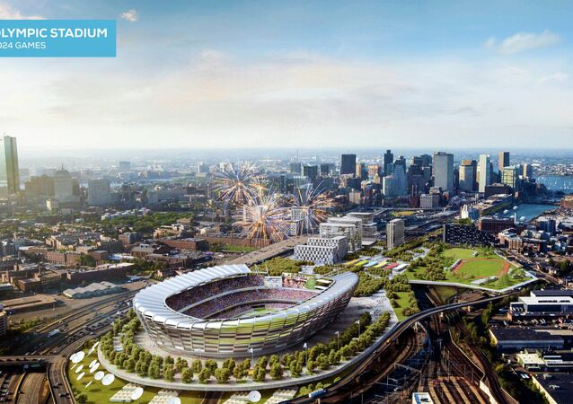 This architect's rendering released Monday, June 29, 2015, by the Boston 2024 planning committee shows an Olympic stadium that is proposed to be built in Boston if the city is awarded the Summer Olympic games in 2024