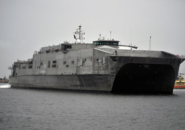 The USNS Spearhead arrives at Naval Station Mayport in Florida.