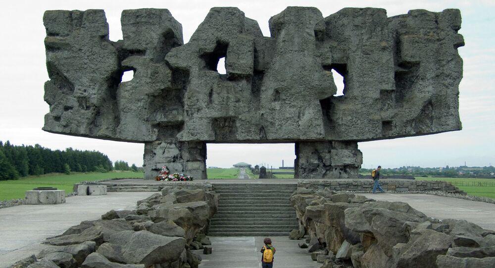 Memorial at the entry gate to the camp Majdanek