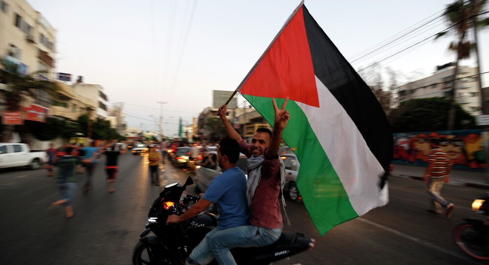 Palestinians wave the national flag as they gather is the streets of Gaza City on August 26, 2014