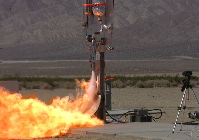 3D-printed engine rocket test-fire.