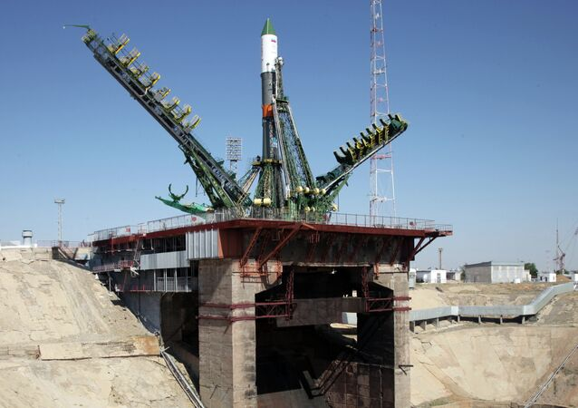 Russia's cargo ship is mounted on a launch pad at the Russian-leased Baikonur cosmodrome in Kazakhstan on July 1, 2015