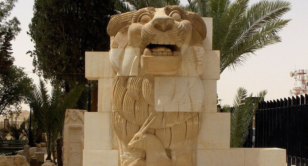 Lion in the garden of Palmyra Archeological Museum.file photo