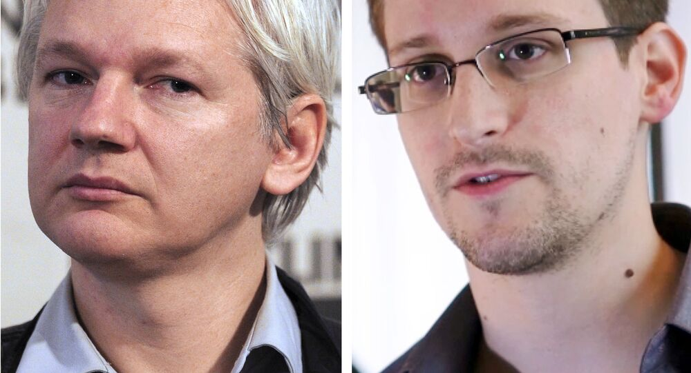 A combination made on July 3, 2013 shows a file picture of WikiLeaks founder Julian Assange (L) taken on June 7, 2013 in London and a still frame grab recorded on June 6, 2013 in Hong Kong of former US agent of the National Security Agency, Edward Snowden