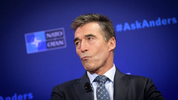 NATO Secretary General Anders Fogh Rasmussen pauses before speaking during a Carnegie Europe think tank event at the Bibliotheque Solvay in Brussels on Monday, Sept. 15, 2014 - Sputnik International