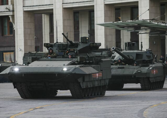 The T-15 heavy infantry combat vehicle and the T-14 tank, both based on the Armata Universal Combat Platform