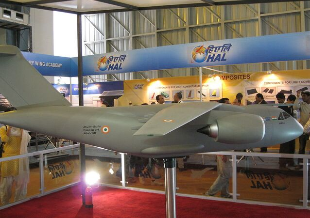 A model of the UAC/HAL Multi-role Transport Aircraft at the Aero India exhibition in 2009