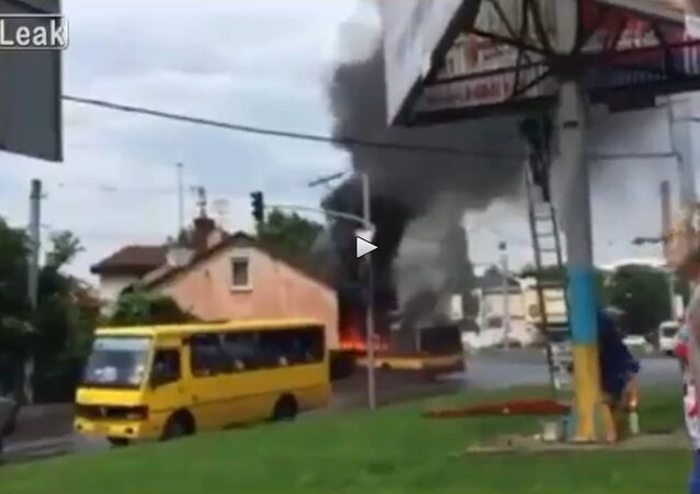 Flaming Trolleybus Slams Into House