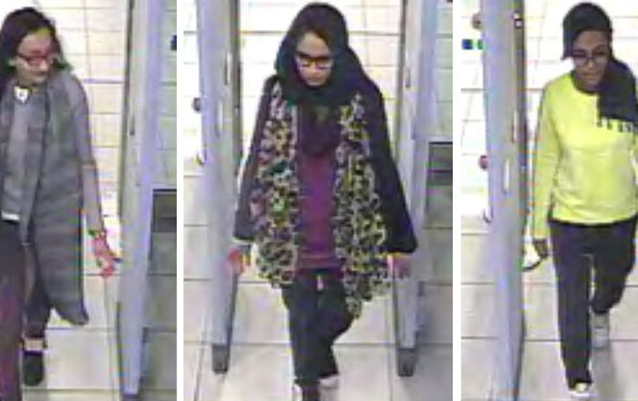 (From left): Kadiza Sultana, Shamima Begum, and Amira Abase pass through security at Gatwick airport, before their flight to Turkey on Tuesday 17 February 2015.