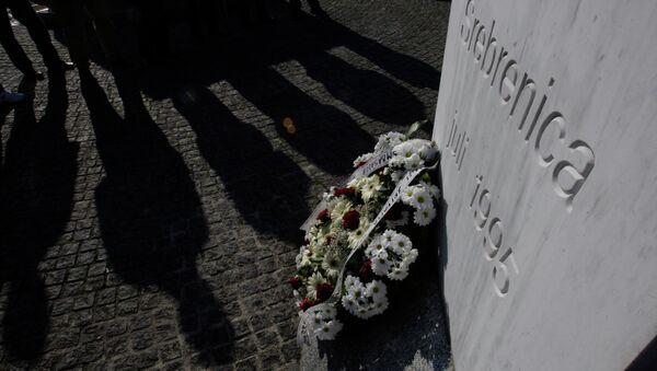War veterans from the Balkan war of the 1990's stand near a memorial at the memorial center Potocari, near Srebrenica, 150 kms northeast of Sarajevo, Bosnia - Sputnik International