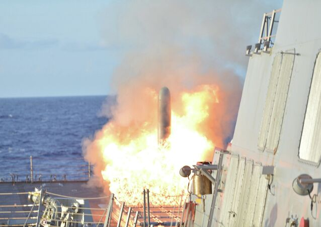 A file photo showing a  Tomahawk Land Attack Missile launches from Arleigh Burke-Class guided-missile destroyer USS Lassern (DDG 82) during Multi-Sail 2015