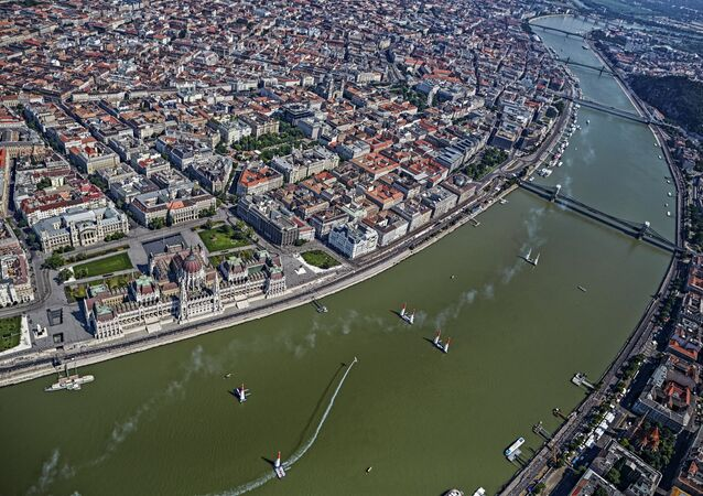 Martin Sonka of the Czech Republic performs during the finals of the fourth stage of the Red Bull Air Race World Championship in Budapest, Hungary on July 5, 2015